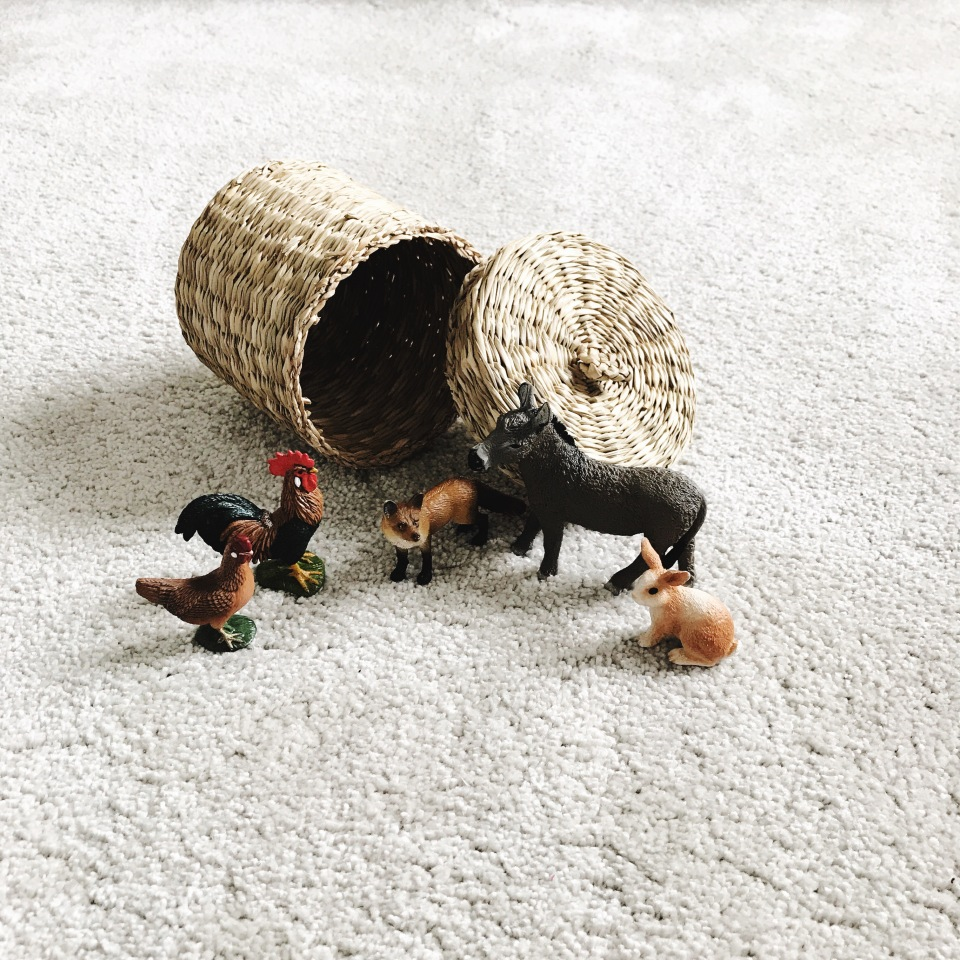 Montessori at Home with an Infant - Schleich Animals make great 'on the go' Montessori Toys, see what else we've been using with our 10 month old.